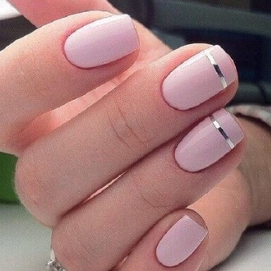 Square Shaped Nails With Pink Nail Paint